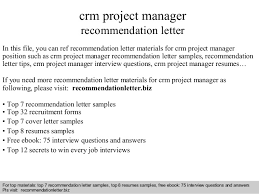 Letter Of Recommendation For Project Manager Crm Project Manager Recommendation Letter
