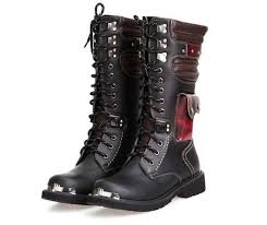Steampunk <b>Gothic</b> Military Combat Motorcycle <b>Pu Leather</b> Boots ...