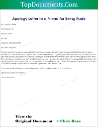 apology letter to friend after bad behaviour apology letter  doc