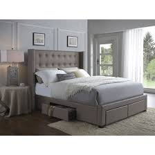 Enrich your home with the modern look of this synthetic leather upholstered  wingback bed. Featuring