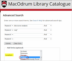 finding carleton university theses in the catalogue macodrum library screen capture of advanced search screen in library catalogue showing the use of the location limit