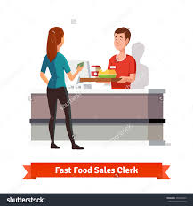 s clerk fast food restaurant handing stock vector  s clerk at fast food restaurant handing a tray packed burger an coffee to a
