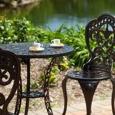 outdoor cast iron aluminium bistro table chair setting. 3-piece cast aluminum outdoor bistro set with table and 2 chairs 1 iron aluminium chair setting n