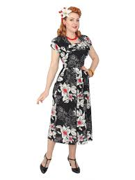 1940s Dress Lana Black White Red Floral From Vivien Of Holloway