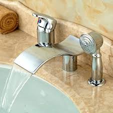 3 hole deck mount tub faucet with hand shower single lever waterfall 3 holes bathtub mixer