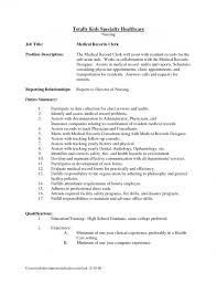 ... Medical Records Clerk Resume 10 Record Sales Lewesmr Regarding Sample Medical  Records Clerk Resume 8 Job Description ...