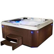 adulation 6 person 67 jet standard hot tub with lounger in espresso