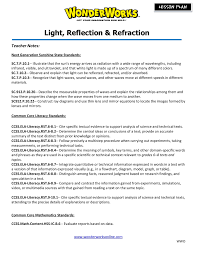 Light Reflection And Refraction Worksheet Light Reflection Refraction Wonderworks Online Pages 1