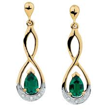 drop earrings with created emerald diamonds yellow white gold diamond huggie black tragus jewelry chandelier neck