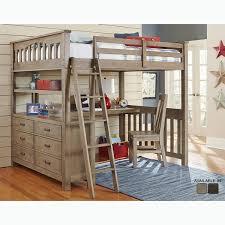 highlands collection driftwood full size loft bed dresser and desk
