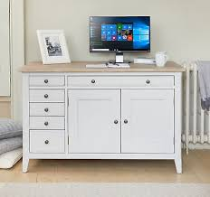 Conran solid oak hidden home office Baumhaus Mobel Signature Solid Wood Workstation With Hideaway Pc Desk Study Grey And Limed Oak Mga Technologies Computer Hideaway Workstation Hidden Home Office Pc Cabinet