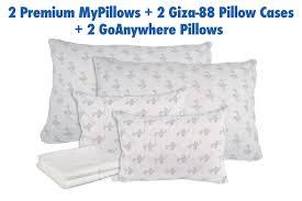 2 S/Q Premium MyPillows. 2 GoAnywhere Pillows
