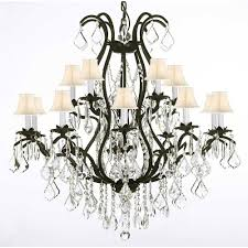 versailles 15 light black wrought iron and crystal chandelier with white shades