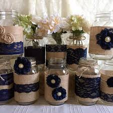 Mason Jar Decorations For Bridal Shower 60x rustic burlap and navy blue lace covered mason jar vases 12
