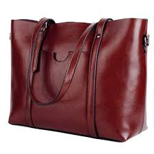 com yaluxe women s vintage style soft leather work tote large shoulder bag wine red shoes