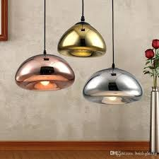 hanging lamps led pendant lamps copper glass shade pendant light modern suspension lighting mirror ball lampshade
