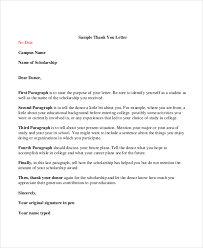 sample donor thank you letter sample thank you letter for scholarship 7 examples in word pdf