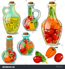 Decorative Pepper Bottles Set Decorative Glass Bottles Pickled Ripe Stock Vector 100 89