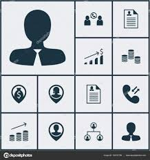 Set Of Management Icons On Female Application Manager And