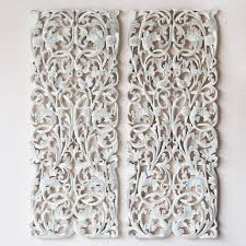 pair of wall art panel wood carving