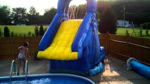 crazy fun on the inflatable banzai blaster pool slide in ground 8 ft youtube inground pools with waterslides31 inground