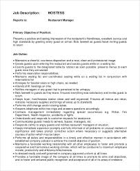 Sample Hostess Job Description 9 Examples In Pdf Word