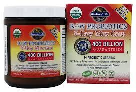 garden of life raw probiotics 5 day max care 34 probiotic strains 400 billion cfu 2 4 oz at luckyvitamin com