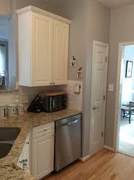 Lazy Granite Tile For Kitchen Countertops Sherwin Williams Lazy Gray White Beveled Subway Tile Backsplash