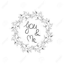 あなたと私手書きのレタリングと花のフレームポスターカード招待状プラカードパンフレット