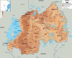 Mappa fisica del Ruanda - Mappa della mappa fisica del Ruanda (Africa  Orientale Africa)