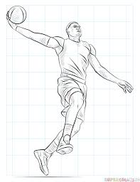 Basketball Drawing Pictures How To Draw A Basketball Player Dunking Step By Step Drawing Tutorials