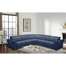 Modern sectional sofas Blue Divani Casa Frazier Modern Blue Fabric Sectional W Electric Recliners La Furniture Store Modern Sectional Sofas Contemporary Couches Sets