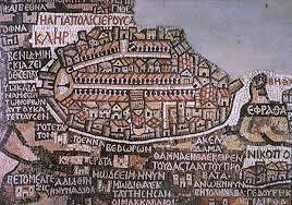 Risultati immagini per Il mosaico della chiesa bizantina di Madaba
