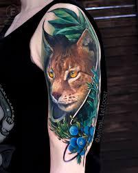 тату рысь на плече реализм тату мастер наташа Animal мои работы