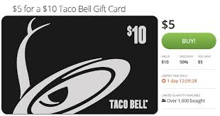 rare 5 for a 10 taco bell gift card