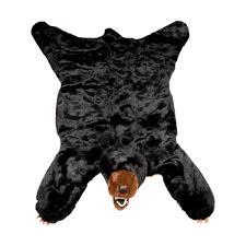 plush black bear rug small