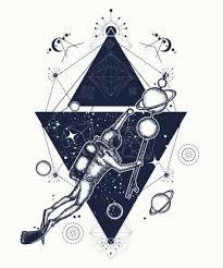 Vektorová Grafika Potápěč Plave V Umění Tetování Vesmíru Astronaut