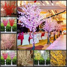 artificial cherry spring plum peach blossom branch silk flower tree for wedding party decoration white red yellow pink wedding decorations reception