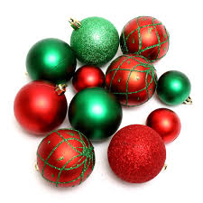 Red and green Christmas ornaments isolated on a white background : Free  Stock Photo ?