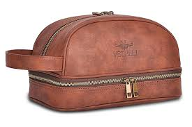 vetelli leather toiletry bag with travel bottles at amazon