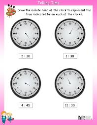 draw the minute hand worksheet 5
