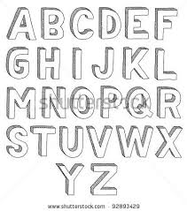 Cool Fonts To Write In Hand Drawn Vector Abc Font 3d Alphabet Stock Vector