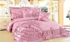 white duvet cover girly teen bedding new dusty pink set with fl and ruffle ornaments placed
