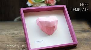 how to make a 3d heart frame free template