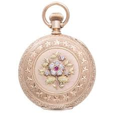 agassiz rose yellow and green gold pocket watch with diamond and ruby accents for