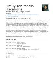 Edm Publicist Resume samples