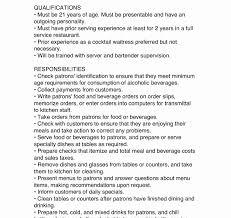 Job Description Of A Bartender For Resume Server Bartender Resume Objective Banquet Food Skills Unusual 100