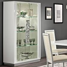 caligula italian walnut high gloss 2 door glass display cabinet