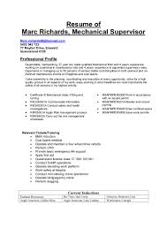 resume of marc richards mechanical supervisor