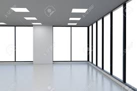 3d Rendering Empty Office Space With Glass Windows Stock Photo